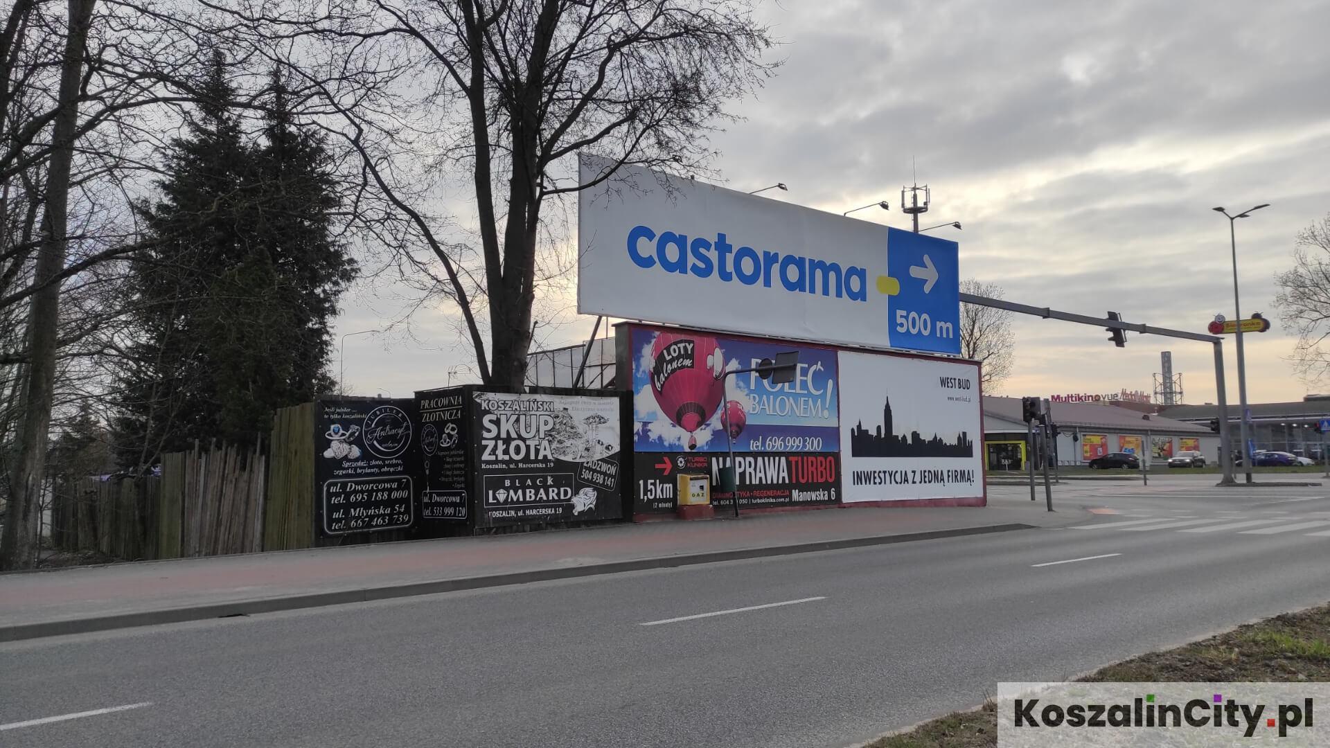 Reklamy przy ul. Gnieźnieńskiej w Koszalinie