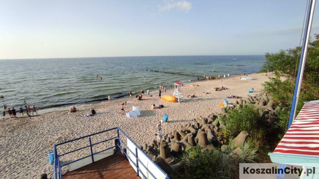 Widok na plażę w Mielnie